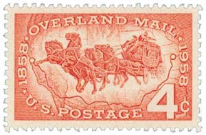 #1120 - 1958 4c Overland Mail Postage Stamp Numbered Plate Block (4)