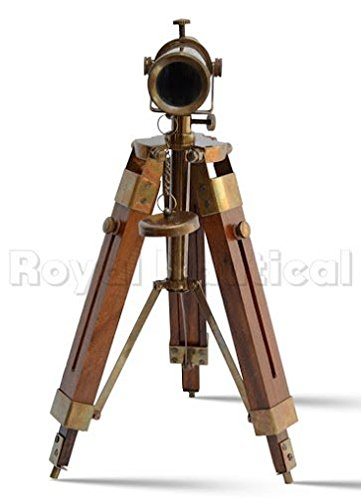 Nautical Brass Antique Telescope Spyglass With Wooden Stand Home Decor Gift 2