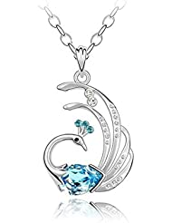 Glitz Fashion White Gold Plated Must Have Peacock Pendant Necklace For Women
