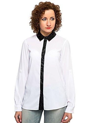 Silvian Heach-Blouse, colletto PU bottoni bianco camicia da donna, taglia 68101214 White S - 42