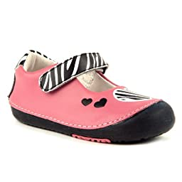 Momo Baby Girls First Walker/Toddler Zebra Hearts Pink Mary Jane Leather Shoes - 4 M US Toddler