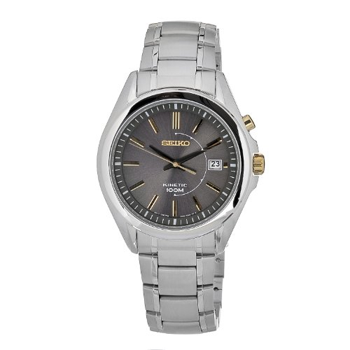 Seiko Men'S Ska527 Kinetic Movement Stainless Steel Dark Beige Dial Watch