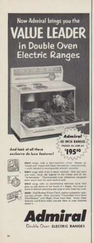 """1954 Admiral Electric Ranges Ad """"Value Leader"""""""