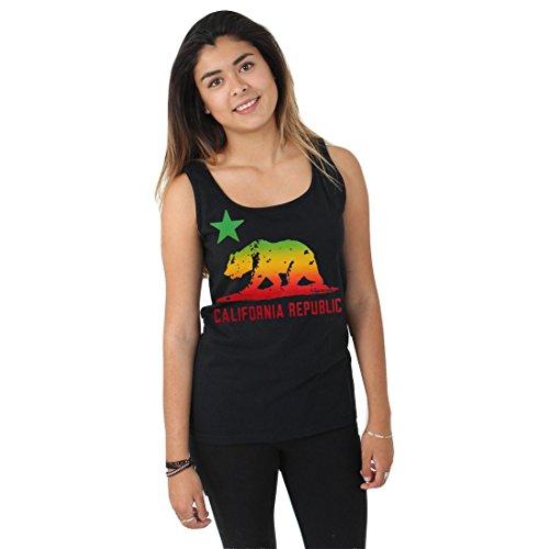 California Republic Rasta Bear Flag Women'S Tank Top - Black Small front-434128