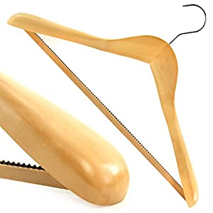 Hangerworld Pack of 2 Shaped Wooden Suit Hangers with Non-Slip Inlaid Trouser Bar - Premium Quality