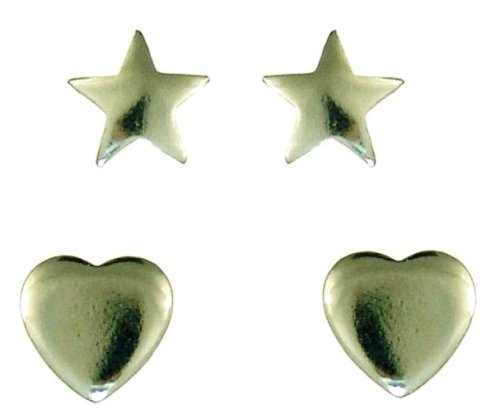 Silver Plain Star and Heart Stud Earrings Set