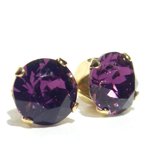 18 carat Gold plated 925 Sterling Silver Stud Earrings set with Amethyst Swarovski Crystal Stones. Gift Box. Beautiful jewellery for very special people.