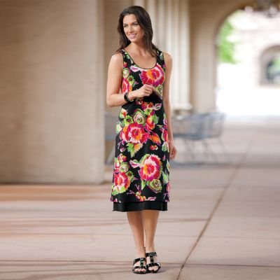 Click to buy TravelSmith Voyager Knit Reversible Tank Dress Floral Bouquet/ Black Medium Petite  from Amazon!