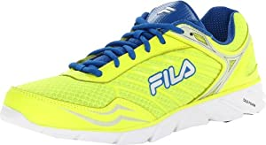 Fila Men's Memory Fresh Running Shoe,Neon Green/Prince Blue/Metallic Silver,11 M US