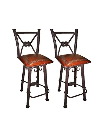 New World Trading Set of 2 Classic Western Iron Barstools With Backs, Antique Brown