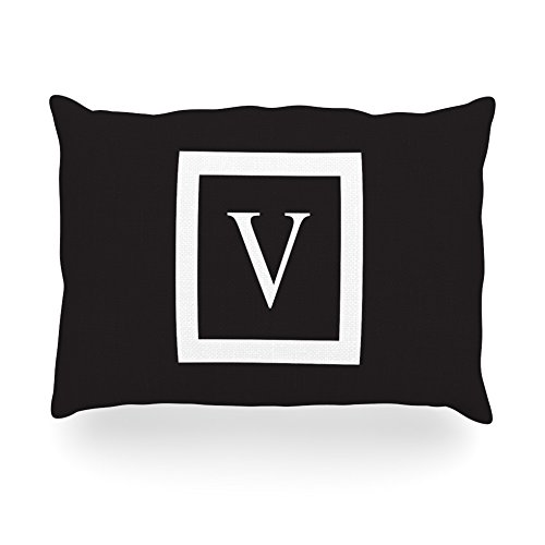 "Kess Inhouse Kess Original ""Monogram Solid Black Letter V"" Oblong Rectangle Outdoor Throw Pillow, 14 By 20-Inch front-1018648"