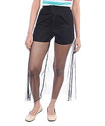Avakasa Black Solid Net Partywear Skirt (skirts-01-black)