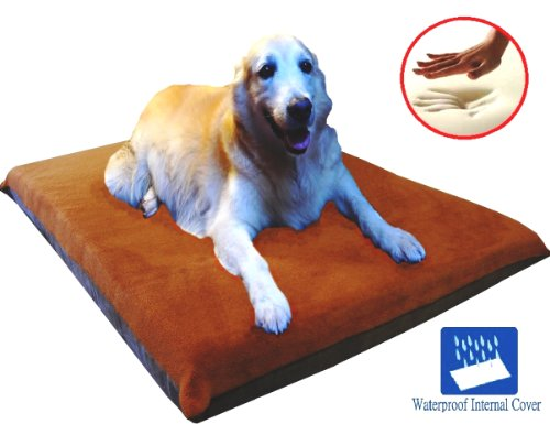 "Sudan Brown 41X27""X4"" Orthopedic Waterproof Memory Foam Pet Bed Pad For Medium Large Dog Crate Size 42""X28"" With 2 External Cover"