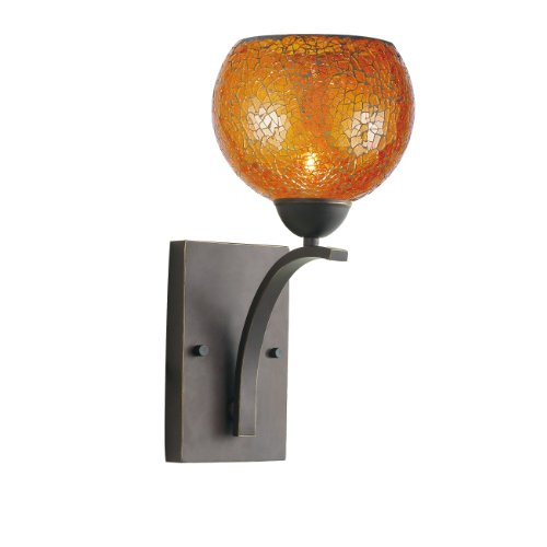 Woodbridge Lighting 13051MEB-M00AMB North Bay 1-Light Wall/Bath Sconce, 6-Inch by 13-3/4-Inch by 8-Inch, Metallic Bronze