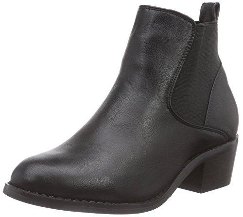 Buffalo 332304F ADE A019 PU, Stivaletti a gamba corta mod. Chelsea, imbottitura leggera donna, Nero (nero (black 01)), 37