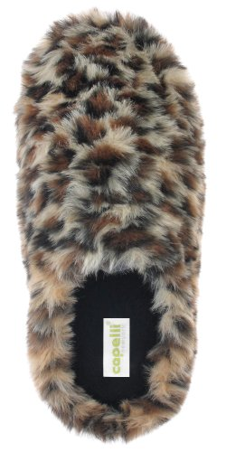 Cheap Capelli New York Faux Fur Leopard Scuff With Fleece Lining Ladies Indoor Slipper (B005WUST4W)