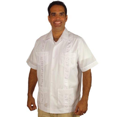 Guayabera Poly Cotton Embroidered Cuban Style Shirt