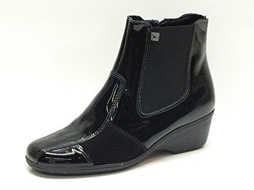 Scarponcini Cinzia Soft per donna in vernice nera con lampo (Taglia 38)