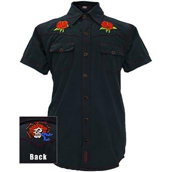 Grateful Dead - Mens Bertha And Roses Button Down Shirt Medium Blue