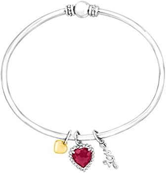 1 7/8 ct Ruby Heart Charm Bangle Bracelet