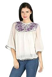 Aaliya Woman's Cotton crepeTops- White-XL