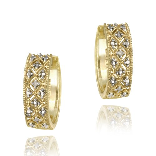 18k Gold over Sterling Silver Diamond Accent Cuff Earrings