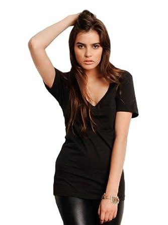Unisex T-Shirt mit tiefem V-Ausschnitt XS,Black