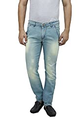Mens Slim Fit Blue Stretch Denim Jeans For Men Light Distress Wash Size 38