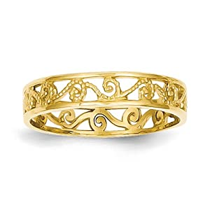 14k yellow gold polished textured baby ring