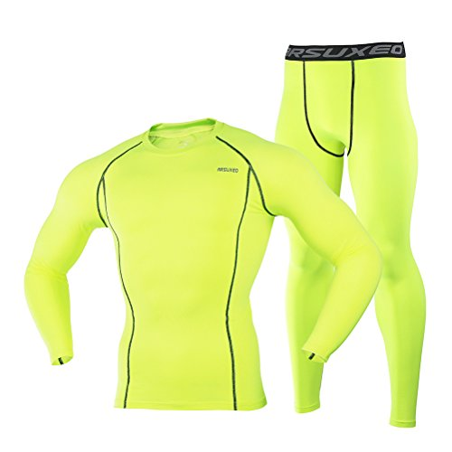 Men's Green Tight Elastic Dry Compression Base Layer Long Sleeve Shirt and Pant Set