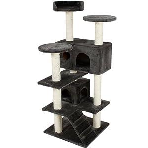 TecTake® Luxus Katzen Kratzbaum Micki grau 131cm Sisalstangen komplett mit Sisal überzogen