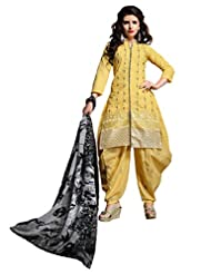 Desi Look Women's Yellow Cotton Patiyala Dress Material With Dupatta