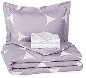 AmazonBasics 5-Piece Bed-In-A-Bag - Twin/Twin XL, Purple Mod Dot