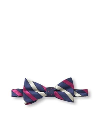 Ben Sherman Men's Reversible Pre-Tie Thick Stripe & Dot Bow Tie, Berry