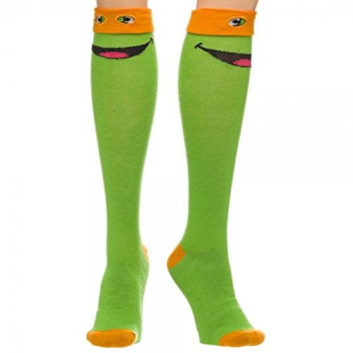 Teenage Mutant Ninja Turtles TMNT Michelangelo Orange Mask Knee High Costume Socks