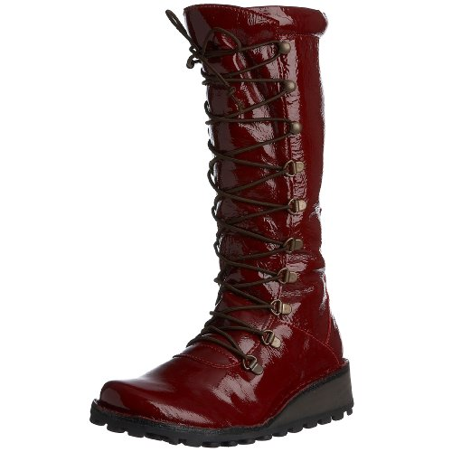 Fly London Women's Maos Boot Leather Patent Red P210389030 7 UK