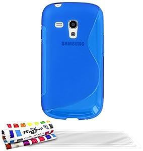 """MUZZANO Coque Souple Ultra-Slim Bleu """"Le S"""" Premium de Qualité Supérieure ORIGINALE - Protection Antichoc ELEGANTE, OPTIMALE et DURABLE - pour SAMSUNG GALAXY S3 MINI ( I8190 ) + 3 Protections d'Ecran transparents """"UltraClear"""" + 1 STYLET et 1 CHIFFON OFFERTS"""