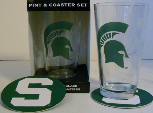 Ncaa Officially Licensed Michigan State Spartans Pint And Coaster Set front-637570