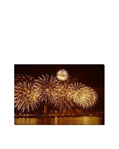 Fireworks Over The Water Giclee On Canvas