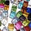 k2-accessories 100 pieces 4mm Clipped Cube Style Value Crystal Glass Beads - Mixed Color - A3019