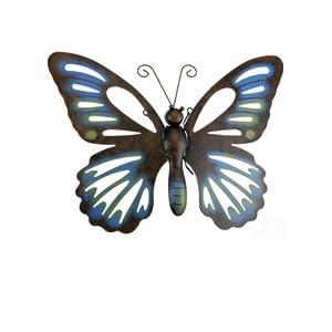 schmetterling wanddeko aussen 42x32cm blau gartendeko. Black Bedroom Furniture Sets. Home Design Ideas