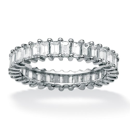 Lux Platinum Over Silver Baguette CZ Eternity Band Ring Size 7