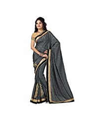 Firstloot Grey Satin Jaquard And Satin Embroidered Saree
