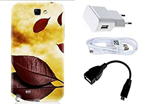 Spygen SamsungGalaxy Note 2 (N7100) Case Combo of Premium Quality Designer Printed 3D Lightweight Slim Matte Finish Hard Case Back Cover + Charger Adapter + High Speed Data Cable + Premium Quality OTG