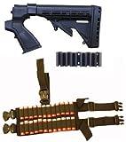 Ultimate Arms Gear Tactical Mossberg 500 / 590 / 835 12 Gauge Shotgun Black Stock Buttstock + Rear Pistol Grip + Recoil Butt Pad + Sling Swivel Stud + 24 Shot Shell Ammo Reload Carrier Thigh Dropleg For Shotgun Rounds Stealth Black Ambidextrous Dual Drop Leg Straps