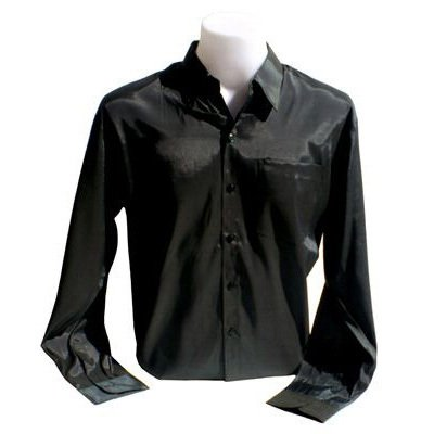 Men's Thai Silk Shirt Long Sleeved / Sleeves in Black Size XXL
