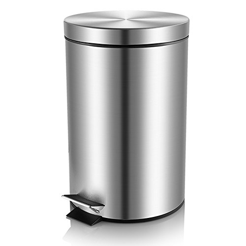 Malmo FE43005L Small Brushed Stainless Steel Round Step Trash Can, 5L/1.3Gallon (Stainless Steel Trash Can 5 Liter compare prices)