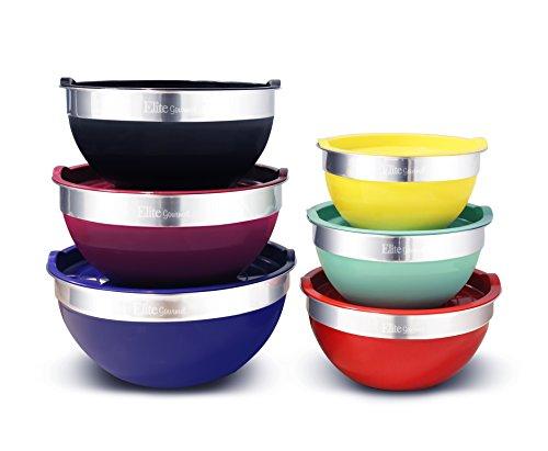 Elite Gourmet EBS-0012 Maxi-Matic 12-Piece Mixing Bowl Set, Multicolor
