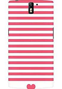 AMEZ designer printed 3d premium high quality back case cover for OnePlus One (stripes red pink heart)
