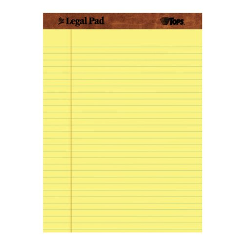 TOPS The Legal Pad Legal Pad, Perforated, Legal/Wide Rule, 50 Sheets per Pad, 12 Pads per Pack, 8.5 x 11.75 Inches, Canary (7532)